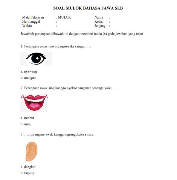 Soal Mulok Bahasa Jawa SLB
