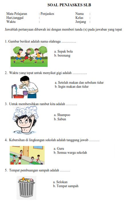15 Contoh Soal Penjaskes Slb Untuk Anak Berkebutuhan Khusus