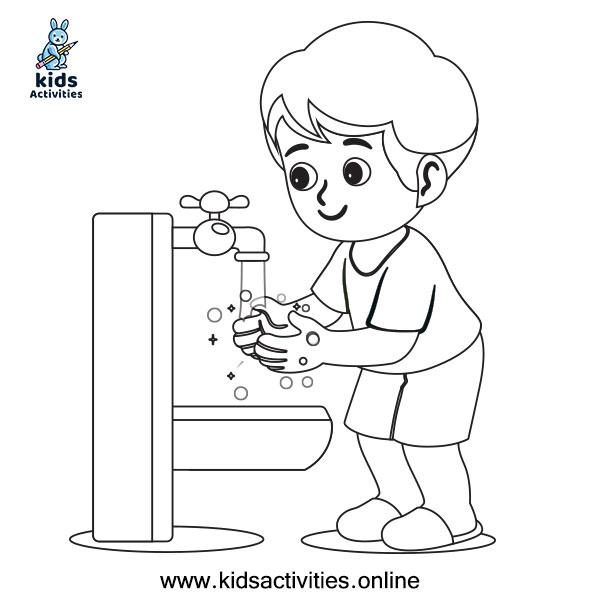 anak mencuci tangan