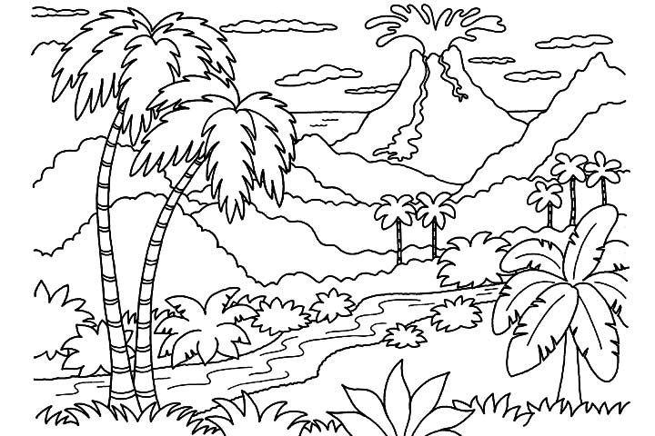Sketsa Mewarnai Anak TK pemandangan alam rumit