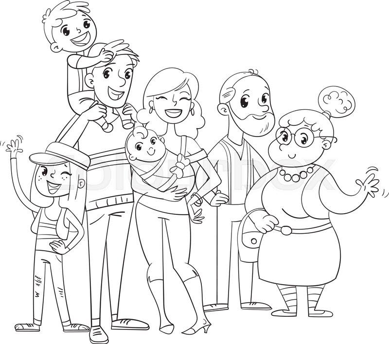 Sketsa Mewarnai Anak TK gambar keluarga rumit